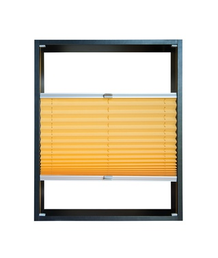 Pleated blind partially opened – yellow color